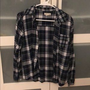 Love Notes Navy Blue White Green Plaid Flannel